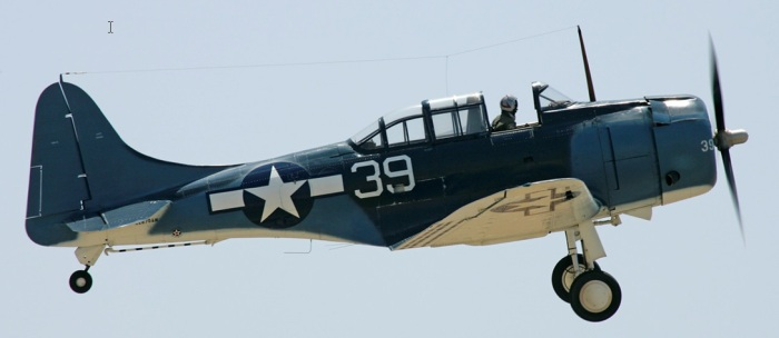 Figure 2 1 A semi-orthographic photo of restored SBD-5 (from The Planes of Fame Air Museum in Chino)