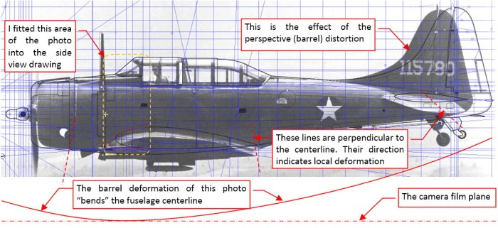 "Figure 4-3 A ""raw"" profile photo of the SBD-3 placed over my SBD-5 drawing"