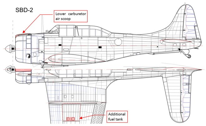 Figure 10-2 The first carrier version (SBD-2, built: 87 since April 1940)