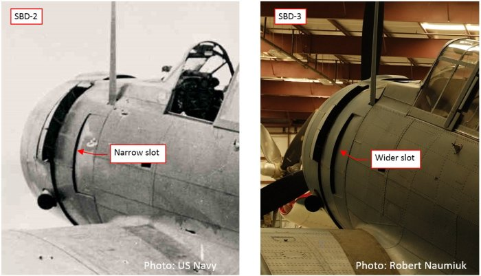 Figure 10-4 Comparison of the engine ventilation slots in the SBD-2 and SBD-3