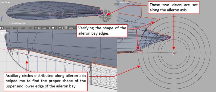 Figure 13-7 Adjusting the shape of the aileron bay edges