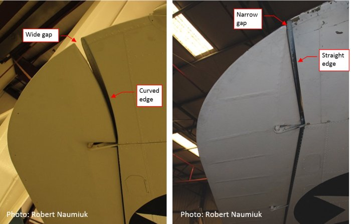 Figure 14-6 Differences in the restored airplanes