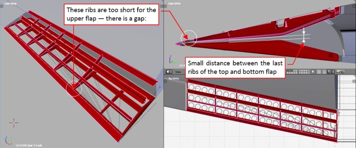 Figure 16-2 The stringers and ribs copied from the bottom flap