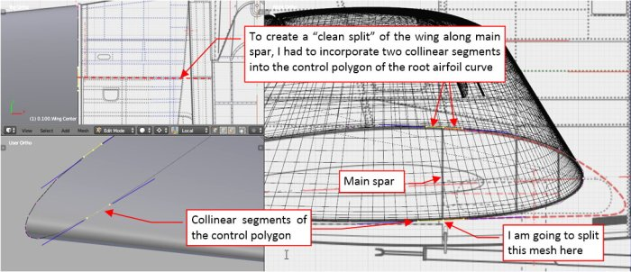 Figure 18-4 Preparing the root airfoil for splitting the wing mesh along the main spar