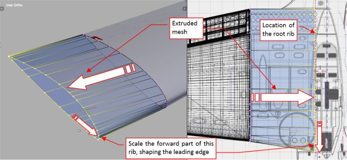 Figure 18-6 Extruding the initial airfoil into center wing section
