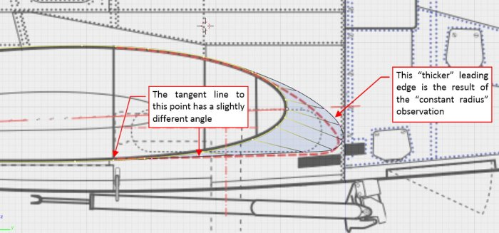 Figure 18-8 Another inaccuracy in my drawings: leading edge at the wing root had different shape