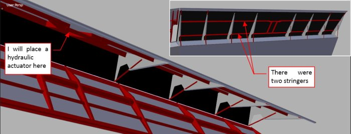 Figure 21-8 Details of the stringers and ribs of the trailing edge