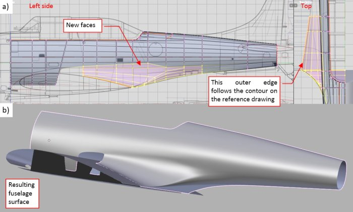 Figure 25-7 Merging the wing root fairing with the fuselage